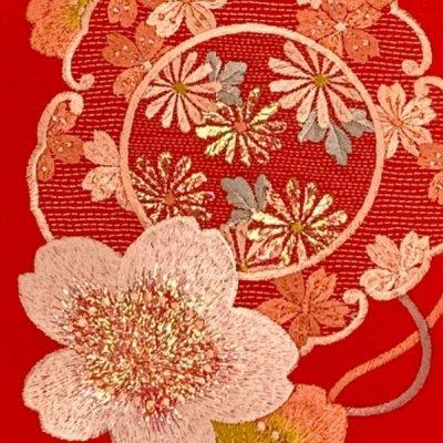 画像3: 振袖用 半衿  華やかなパール刺繍入りの半襟 合繊 日本製 変わり色【赤、桜】
