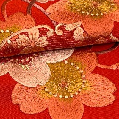 画像4: 振袖用 半衿  華やかなパール刺繍入りの半襟 合繊 日本製 変わり色【赤、桜】