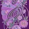 画像3: 振袖用 半衿  華やかなパール刺繍入りの半襟 合繊 日本製 変わり色【紫、扇と菊】 (3)