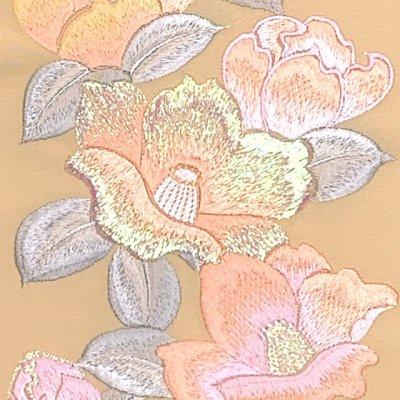 画像3: 振袖用 半衿  華やかなパール刺繍入りの半襟 合繊 日本製 変わり色【クリーム、椿】