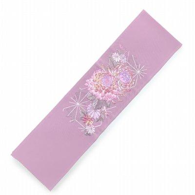画像2: 半衿 女性用 振袖に 華やかなパール刺繍入りの半襟 合繊 日本製 変わり色【薄紫、菊】