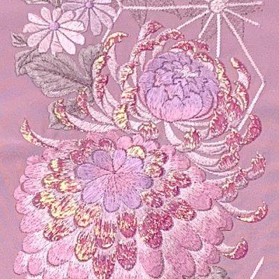 画像3: 半衿 女性用 振袖に 華やかなパール刺繍入りの半襟 合繊 日本製 変わり色【薄紫、菊】