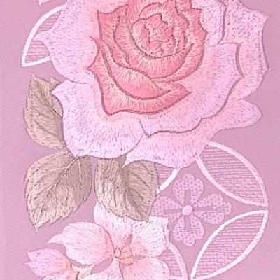 画像3: 半衿 振袖に 華やかな刺繍入りの半襟 合繊 日本製 変わり色【薄紫、薔薇に七宝】