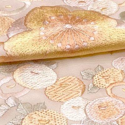 画像4: 半衿 振袖に 華やかな刺繍入りの半襟 合繊 日本製 変わり色【スキンベージュ、梅】