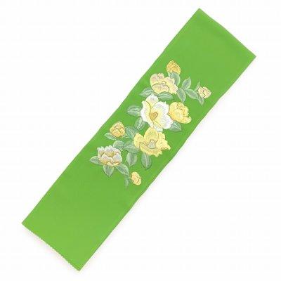 画像2: 半衿 振袖に 華やかな刺繍入りの半襟 合繊 日本製 変わり色【ひわ色、椿】