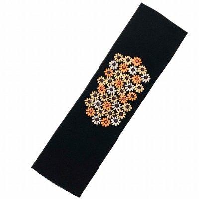 画像2: 【アウトレット 美品】京都室町st★半衿 華やかな刺繍入りの半襟 絹交織 変わり色【黒地、菊】