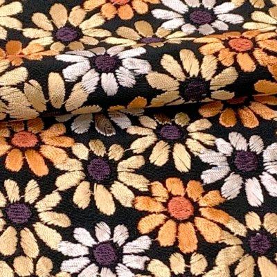 画像4: 【アウトレット 美品】京都室町st★半衿 華やかな刺繍入りの半襟 絹交織 変わり色【黒地、菊】