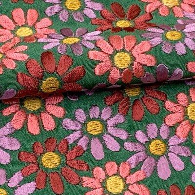 画像4: 【アウトレット 美品】京都室町st★半衿 華やかな刺繍入りの半襟 絹交織 変わり色【緑、菊】