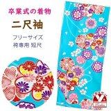 二尺袖着物 単品 ショート丈 洗える着物 卒業式の着物 かわいい小紋柄【水色、桜】