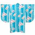 画像2: 二尺袖着物 単品 ショート丈 洗える着物 卒業式の着物 かわいい小紋柄【水色、桜】 (2)
