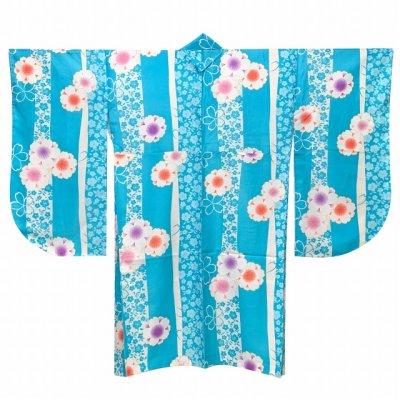 画像2: 二尺袖着物 単品 ショート丈 洗える着物 卒業式の着物 かわいい小紋柄【水色、桜】
