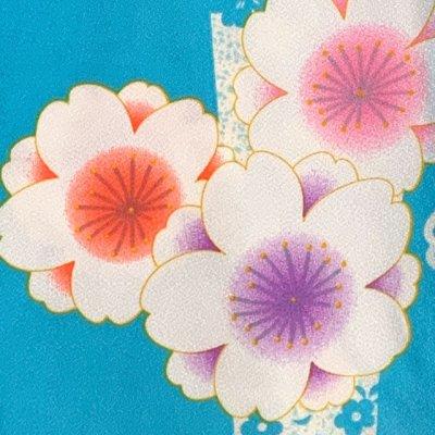 画像3: 二尺袖着物 単品 ショート丈 洗える着物 卒業式の着物 かわいい小紋柄【水色、桜】