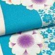 画像4: 二尺袖着物 単品 ショート丈 洗える着物 卒業式の着物 かわいい小紋柄【水色、桜】 (4)