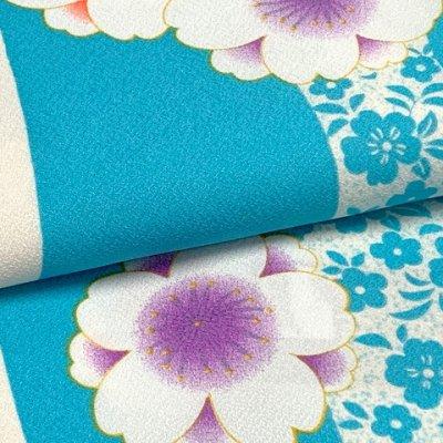 画像4: 二尺袖着物 単品 ショート丈 洗える着物 卒業式の着物 かわいい小紋柄【水色、桜】