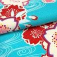 画像3: 袴セット 卒業式 女子用 短尺 古典柄の小振袖(二尺袖の着物)と無地袴のセット【水色、梅】