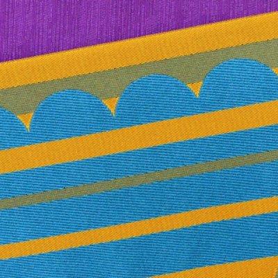 画像3: 半幅帯 細帯 長尺(440cm)のリバーシブル 半幅小袋帯(合繊)【水色&山吹】
