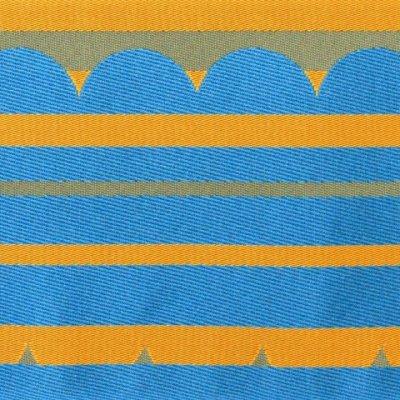 画像4: 半幅帯 細帯 長尺(440cm)のリバーシブル 半幅小袋帯(合繊)【水色&山吹】