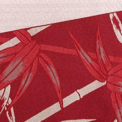 画像3: 半幅帯 「HANAE MORI」ブランドの半巾帯(細帯) 合繊 400cm【赤系 竹に笹の葉】