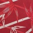 画像4: 半幅帯 「HANAE MORI」ブランドの半巾帯(細帯) 合繊 400cm【赤系 竹に笹の葉】 (4)