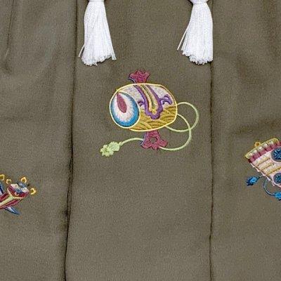画像5: 被布コート 単品 七五三 3歳 男の子用 日本製 刺繍入りのの被布(正絹)【カーキ系、小槌】