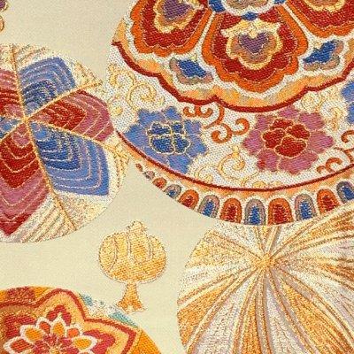 画像2: 西陣織 高級 子供袋帯 全通 仕立て上がり 十三参り 七五三に【生成り系、鞠と宝】