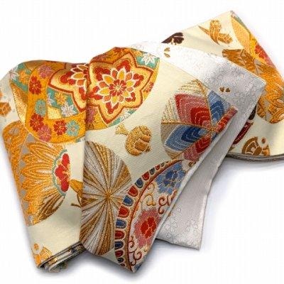 画像5: 西陣織 高級 子供袋帯 全通 仕立て上がり 十三参り 七五三に【生成り系、鞠と宝】
