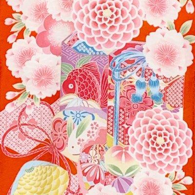 画像3: 九重(ここのえ) ブランド お宮参り 女の子 着物 初着 産着 お祝い着(合繊) 日本製 襦袢付き【朱赤系、桜に貝桶】