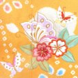 画像3: 七五三 着物 7歳 フルセット 正絹 女の子 本絞り 刺繍入り 絵羽柄の子供着物 セット【黄色 桜に蝶】