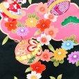 画像4: 七五三 着物 7歳女の子 日本製 絵羽柄の子ども着物フルセット(正絹)【黒地、雲に鈴・梅】