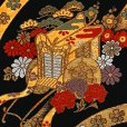 画像3: 七五三 袋帯 正絹 桐生織 こども・ジュニア用 日本製 全通の女の子用祝帯 仕立て上がり【黒地、御所車】