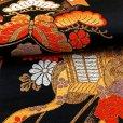 画像5: 七五三 袋帯 正絹 桐生織 こども・ジュニア用 日本製 全通の女の子用祝帯 仕立て上がり【黒地、御所車】