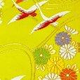画像3: 七五三 袋帯 正絹 桐生織 こども・ジュニア用 日本製 全通の女の子用祝帯 仕立て上がり【ひわ色、鶴】