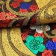 画像5: 七五三 袋帯 正絹 ジュニア用 日本製 全通の女の子用祝帯 仕立て上がり【黒x金、梅】