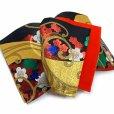 画像6: 七五三 袋帯 正絹 ジュニア用 日本製 全通の女の子用祝帯 仕立て上がり【黒x金、梅】