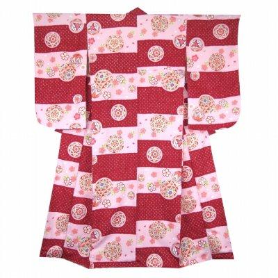 画像2: 小学生 卒業式 女の子 袴セット 購入 ジュニア振袖 ぼかし刺繍袴 3点セット【エンジ&桃、鞠】
