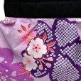 画像2: 和柄の手提げ和柄ミニバッグ 手提げ袋 ポーチ 着物や浴衣姿に【紫、桜】 (2)