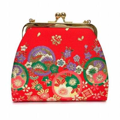 画像2: 七五三 バッグ 子供用 金襴生地のバッグ 合繊【朱赤、桜と梅】