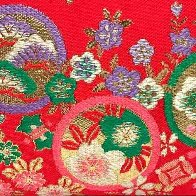 画像3: 七五三 バッグ 子供用 金襴生地のバッグ 合繊【朱赤、桜と梅】