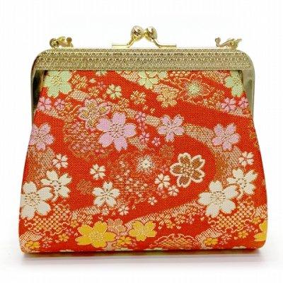画像2: 七五三 バッグ 子供用 金襴生地のバッグ 合繊【赤、流水と桜】
