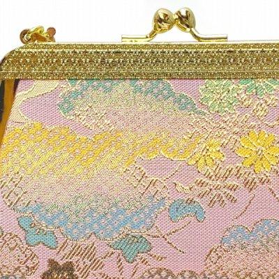 画像3: 七五三 バッグ 子供用 金襴生地のバッグ 合繊【ピンク系、雲と桔梗】