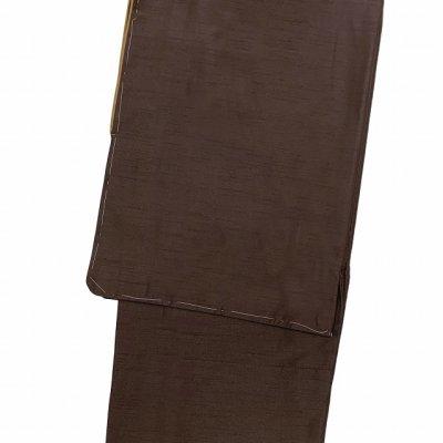 画像2: 着物 男性用 洗える着物 袷 メンズ 国産生地 紬風着物 Lサイズ【こげ茶】