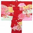 画像2: お宮参り 着物 女の子 日本製 正絹 金駒刺繍入り 赤ちゃんのお祝い着 産着 初着【赤 鞠に雲】 (2)