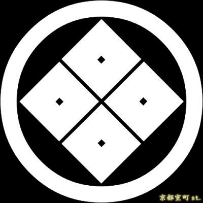 画像1: [貼り付け家紋(家紋シール)]丸に隅立ち四つ目