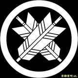 [貼り付け家紋(家紋シール)]丸に違い矢