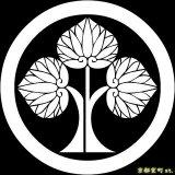 [貼り付け家紋(家紋シール)]丸に左離れ立葵