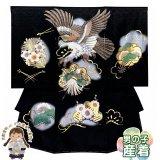 お宮参り 男の子 着物 赤ちゃんのお祝い着 (初着 産着) 正絹【黒地、鷹とまとい】