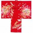 画像2: お宮参り 女の子 着物 日本製 赤ちゃんのお祝い着 (初着 産着) 正絹【赤、束ね熨斗】