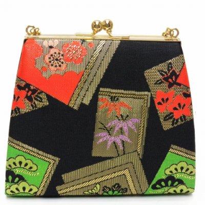 画像2: 子供用草履&バッグセット 七五三 3歳女の子用 金襴生地の草履(16cm)とバッグのセット【黒地、松竹梅】