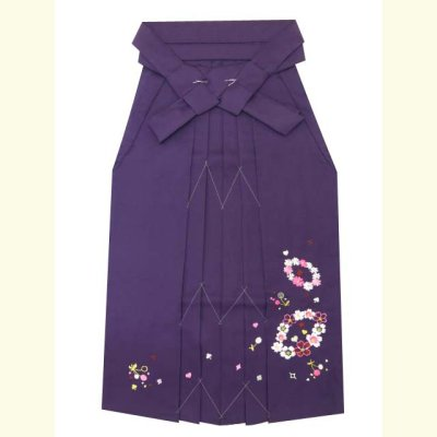 画像2: ≪在庫処分セール!現品限り≫ 卒業式 袴 女性用 刺繍入り袴【紫、花輪とさくらんぼ】
