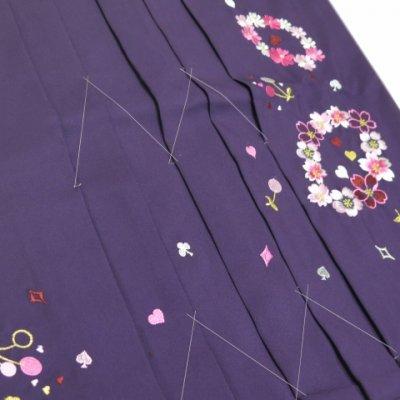 画像5: ≪在庫処分セール!現品限り≫ 卒業式 袴 女性用 刺繍入り袴【紫、花輪とさくらんぼ】